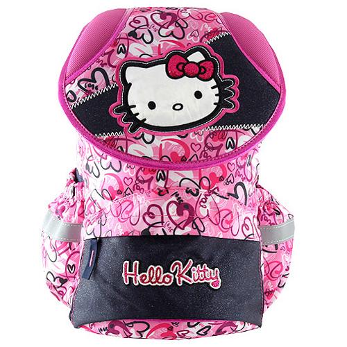 Školní batoh Hello Kitty modro-růžový s motivem srdíček 7713892165