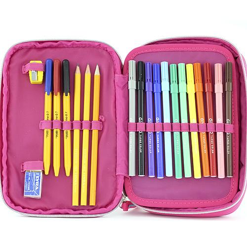 Školní penál s náplní Winx Club jednopatrový barevné kostky
