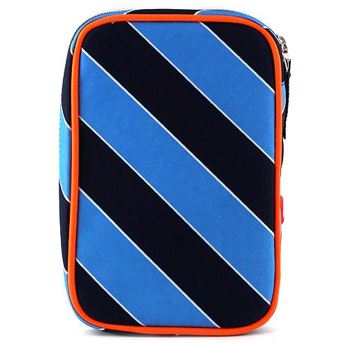 Školní penál s náplní Goal modré proužky