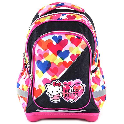 Školní batoh Hello Kitty barevné srdce