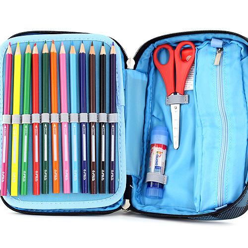 Školní penál s náplní Target XXL modré kostky