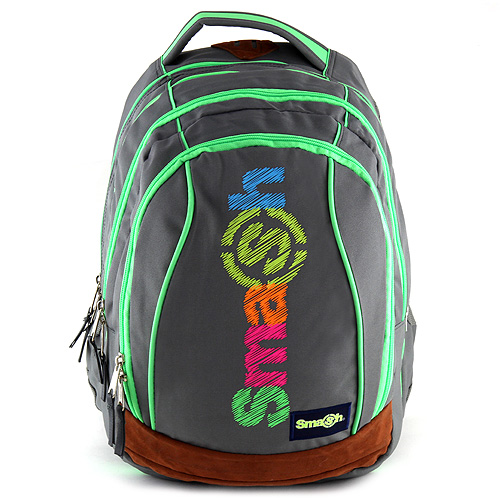 Školní batoh Smash 2v1 šedý, zelené zipy