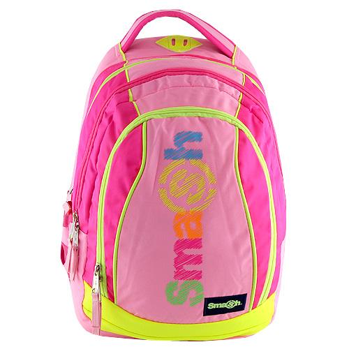 Školní batoh Smash 2v1 růžový, žluté zipy