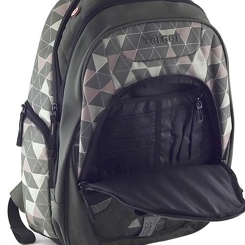 Cestovní batoh Target Lahvově zelený s trojúhelníky