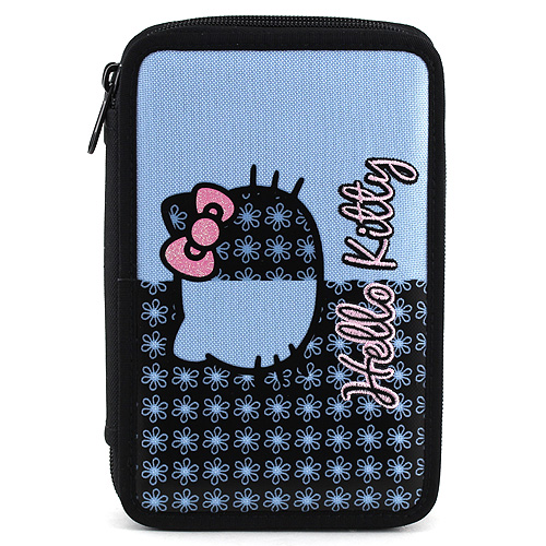 Školní penál s náplní dvoupatrový Hello Kitty Blue flower
